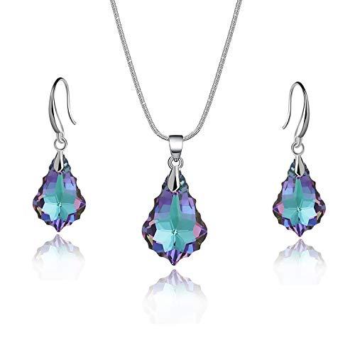 EVEVIC Swarovski Crystal Baroque Necklace Earrings Set for Women Girls 18K Gold Plated Jewelry Sets (Vitrail Light) - Bravo 3 Light Pendant