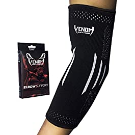 Venom Elbow Brace Compression Sleeve – Elastic Support, Tendonitis Pain, Tennis Elbow, Golfer's Elbow, Arthritis, Bursitis, Basketball, Baseball, Football, Golf, Lifting, Sports, Men, Women