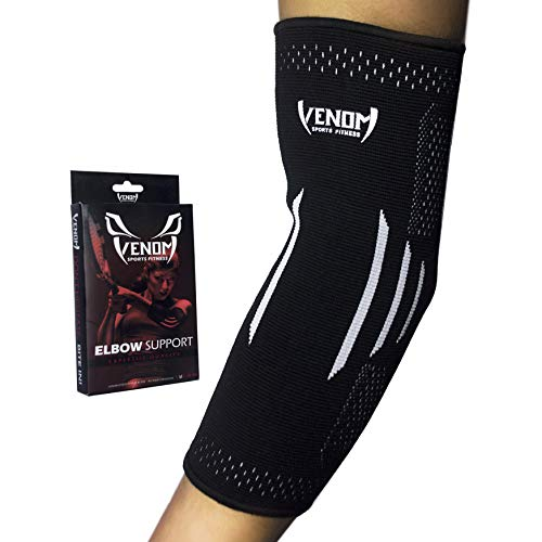 Venom Elbow Brace Compression Sleeve - Elastic Support, Tendonitis Pain, Tennis Elbow, Golfer's Elbow, Arthritis, Bursitis, Basketball, Baseball, Football, Golf, Lifting, Sports, Men, Women (XXL)