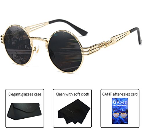 GAMT Vintage Steampunk Round Sunglasses Metal Frame for Men Gold Frame Grey - Made Sunglasses Who