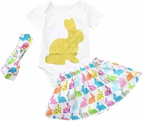5ba60e0c2f76 Kehen Infant Baby Girl 3pcs Easter Outfits Long Sleeve Rabbit Print Romper+Dots  Long Pants
