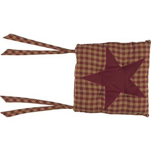 VHC Brands Primitive Tabletop Kitchen Cody Burgundy Cotton Tie Back(s) Appliqued Star Square Chair Pad, King, Red