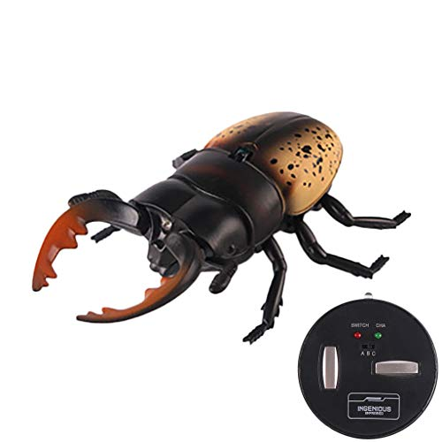Binory Children Funny Electric Remote Control Beetle Infrared Induction Tricky Toys,RC Electronic Emulational Insect Robot Car RC Prank Joke Toys,Halloween April Fools' Day Gift for Baby(Yellow)