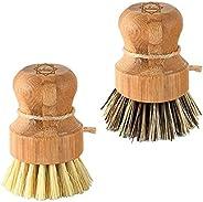 Dish Scrub Brush Bamboo - S&C Kitchen, Cleans Pan/Vegetable/Dishes/Wok, Bamboo Scrub Brush for Kitchen/Bat