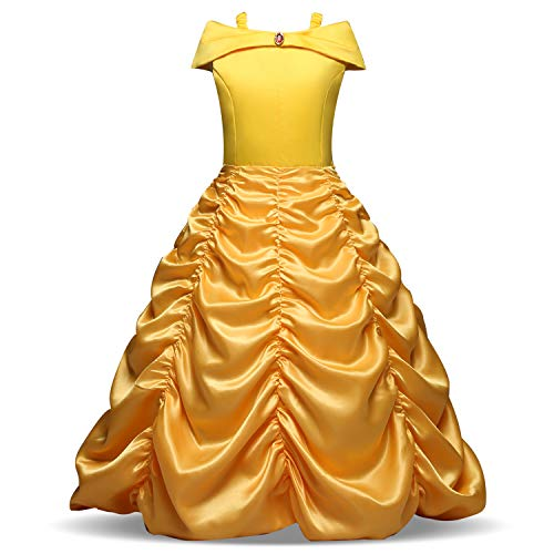Little Girls Princess Layered Belle Party Costume Off Shoulder Yellow Dress with 5 Packs Accessories -