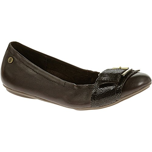 Hush Puppies Women's Finnley Chaste Flat, Brown Leather, 7 M US
