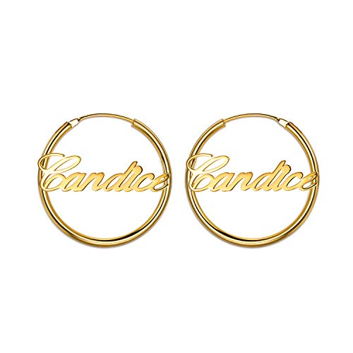LONAGO Name Plate Hoop Earrings Personalized Sterling Silver Copper Earrings Set White Rose Gold Plated Customized Jewelry Gift for Women Girls (Yellow-Gold-Plated, - Name Script Earrings
