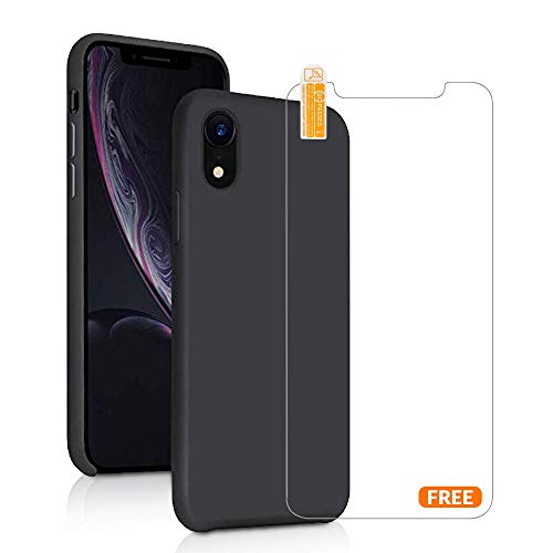 iPhone XR Silicone case Plus Screen Protector, Wipes and Duster, Anti-Slip, Shockproof, Soft Microfiber Interior, Hard Shell for iPhone XR 6.1
