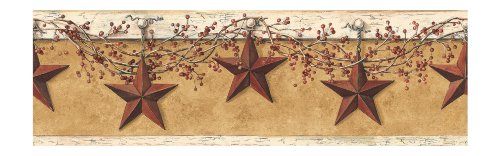 (York Wallcoverings HK4663BDSMP Best of Country Hanging Star 8-Inch x 10-Inch Wallpaper Border Memo Sample, Mustard/Cream)