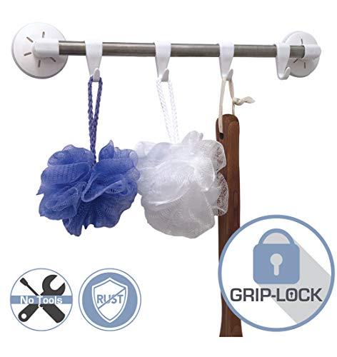 Banera Grip-Lock Rail Hooks Suction Cup Hooks - Multi-Purpose - Organize Towel, Robe, Loofah, Hanger, Bathroom, Shower, Kitchen, Hanger - White and Nickel -
