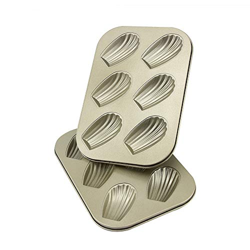 10.43  7.28  0.66 inch Madeleine Pan 6 Cups Shell Shaped Baking Pan kitchen Bakeware Set Madeleine Cookie Pan Baking Trays for Oven Non Stick 2 Pack (Shell Madeleine Pans)