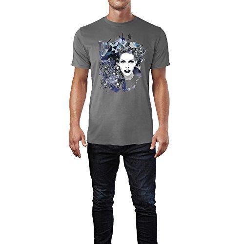 SINUS ART ® Abstrakte Collage mit Frauengesicht Herren T-Shirts in Grau Charocoal Fun Shirt mit tollen Aufdruck