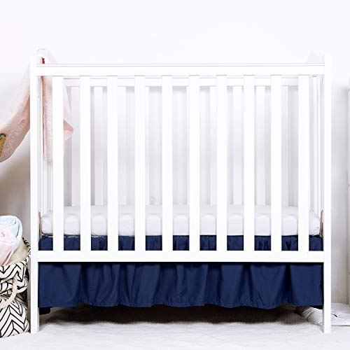 TILLYOU Mini Crib Skirt Ruffled, Microfiber Portable Crib Bed Skirt for Baby Boys and Girls, 24' X 38, 10.5' Drop, Navy Blue