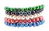 Multi Strand Dyed Freshwater Cultured Pearl Stretch Bracelets (5 Strand Combo 1)