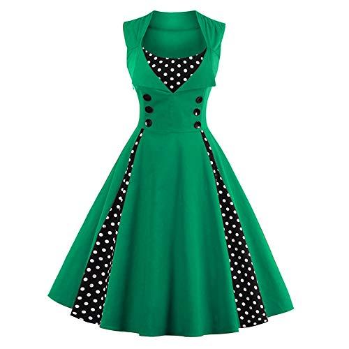 FTVOGUE Women Retro Dress Sleeveless Rockabilly Polka Dot Printed Pleated Swing Cocktail Vintage Dress, Green