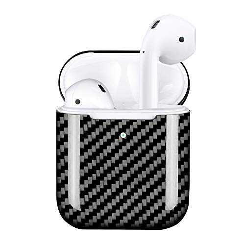 MONOCARBON Genuine Carbon Fiber Case Compatible for New AirPods 2 with Wireless Charging Case Ultra Slim Carbon Fibre Cover for Apple Wireless Earbuds - Glossy Finishing ()