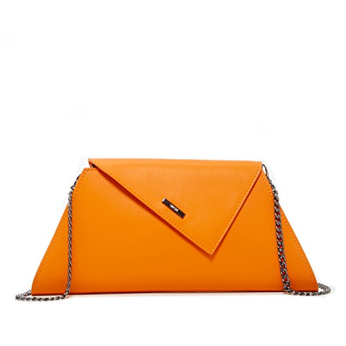 Orange Clutch Purse for Women - Evening Leather Bag Summer Clutches for Wedding Bridal Gift Purses Designer Fashion Handbags Ladies Zipper Closure Envelope Bags with Crossbody Shoulder Chain Strap by SUSU