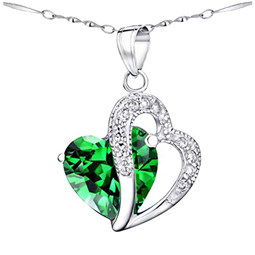 MABELLA Gemstone Jewelry Simulated Emerald Double Heart Pendant Sterling Silver Necklace for Women (Pendant Heart Necklace Emerald)