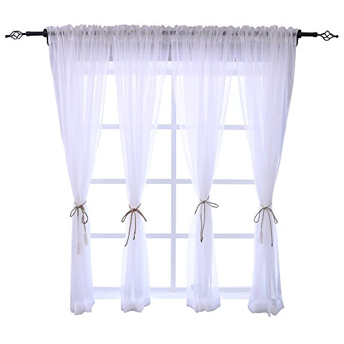 HOLKING Rod Pocket Sheer Curtains 63 inch for Bedroom Living Room Window Treatment Set White Curtains,4 Panels Each is 52 inches Wide by 63 inches Long