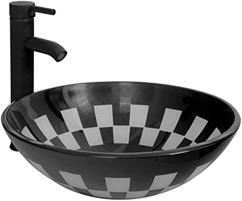 BATHJOY Bathroom Glass Vessel Sink Round Sink Bowl Oil Rubbed Bronze Faucet Pop-up Drain Combo Black White Painting