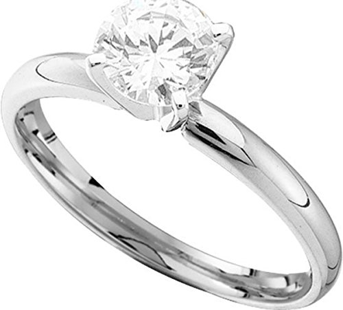 14kt White Gold Womens Round Diamond Solitaire Bridal Wedding Engagement Ring 1/8 Cttw by JawaFashion