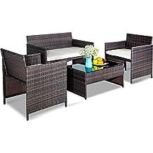 Leisure Zone 4 PC Rattan Patio Furniture Set Garden Lawn Cushioned Seat Wicker Sofa, Brown