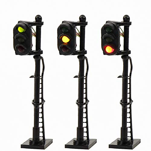 - JTD1508GYR 3PCS Model Railroad Train Signals 3-Lights Block Signal N Scale 12V Green-Yellow-Red Traffic Lights Train Layout