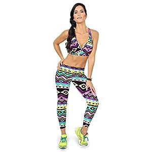 Lookatool Women's High Waist Fitness Yoga Sport Pants (L, Orange+Green)