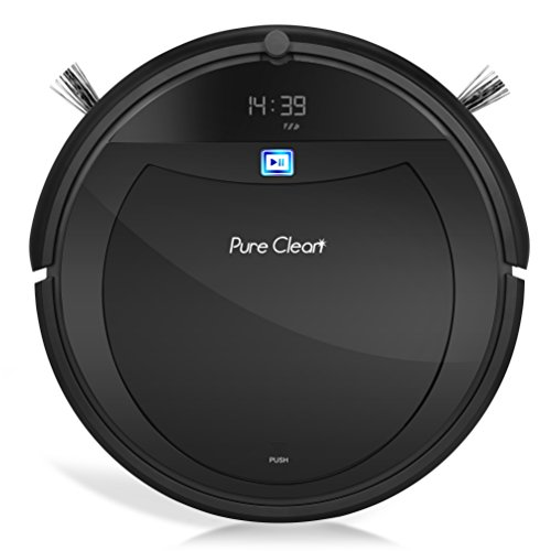 Automatic Programmable Robot Vacuum Cleaner - Scheduled Activation Auto Charge Dock - Robotic Home Cleaning for Clean Carpet Hardwood Floor, HEPA Pet Hair and Allergies Friendly - PureClean PUCRC99