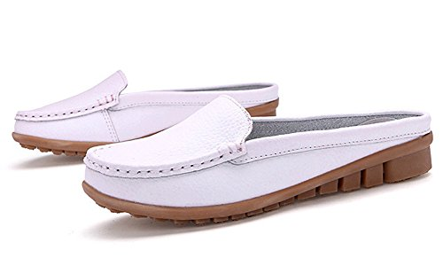 SCIEU Women's Casual Leather Loafers Driving Moccasins Slip-On Boat Shoes Flats Slippers White RNCSSBwb
