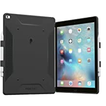 iPad Pro 12.9 Case, Poetic QuarterBack [Corner/Bumper Protection][Dual protection]-Stylish PC+TPU Case for iPad Pro 12.9 with Pencil Holder, Compatible w/ Apple Smart Keyboard Black/Black