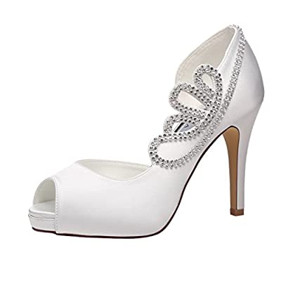 M MULGARIA Jiame Women's Pumps Peep Toe Rhinestones Platform High Heel D'Orsay Satin Evening Wedding Dress Shoes