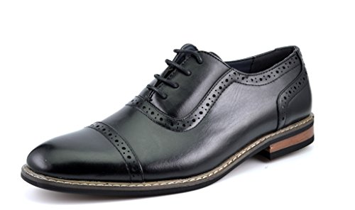 Bruno HOMME MODA ITALY PRINCE Men's Classic Modern Oxford Wingtip Lace Dress Shoes,PRINCE-5-BLACK,9.5 D(M) US