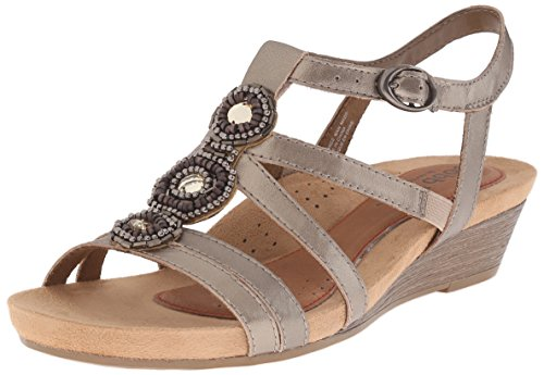 (Rockport Cobb Hill  Women's Hannah-CH Wedge Sandal,  Pewter, 6.5 M US)