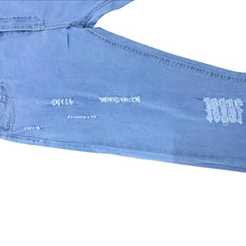 R Lunghi Ragazzi Da Denim Strappati Pantaloni Casual Distrutti Classiche Jeans Blau Uomo naxq718