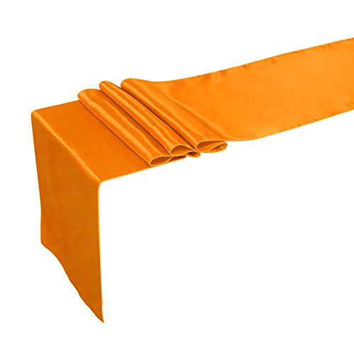 Ling's Moment Satin Table Runners for Wedding Decoration, Bright Silk and Smooth Fabric Party Table Runners, 12 x 108 Inch, Orange, Set of 1 (Orange Table Runner compare prices)