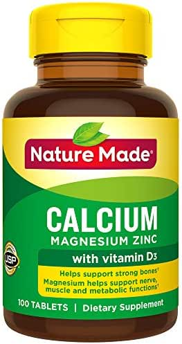Nature Made Calcium, Magnesium Oxide, Zinc with Vitamin D3 Tablets, 100 Count for Bone Health† (Pack of 3)