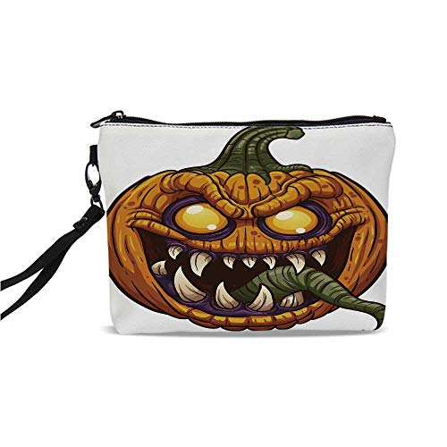 Halloween Simple Cosmetic Bag,Scary Pumpkin Monster Evil Character with Fangs Aggressive Cartoon for Women,9