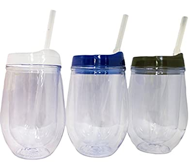 Bev2Go 10oz Stemless Wine Tumbler with Straw 3 Pack (Clear, Blue, Smoke)