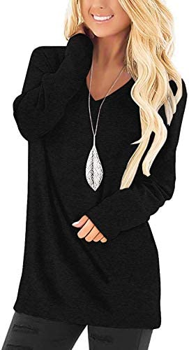 Magritta Women's Casual V Neck Tops Long Sleeve Tunic Comfy Loose Plain Color Block Blouse T Shirt