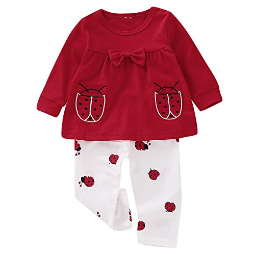 2pcs Baby Girls Toddlers Long Sleeve Bowknot Tops + Ladybugs Pants Clothes Set (Color : White+RED, Size : 12-18M)