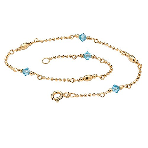 Ring December Birthstone 14k - Palm Beach Jewelry 14K Gold Over .925 Silver Simulated Birthstone Ankle Bracelet 11