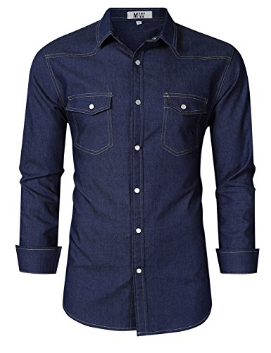 - MrWonder Mens Casual Fit Button Down Shirts Long Sleeve Denim Dress Shirts Western Shirt Dark Blue L