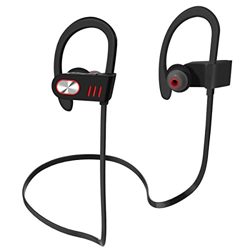 Bluetooth Headphones, Wireless Headphones IPX4 Waterproof, Premium Sound with Bass Noise Reducing, and Ergonomic Design Secure Fit for Running Exercising, 8 Hours Playtime with Mic Volume Control