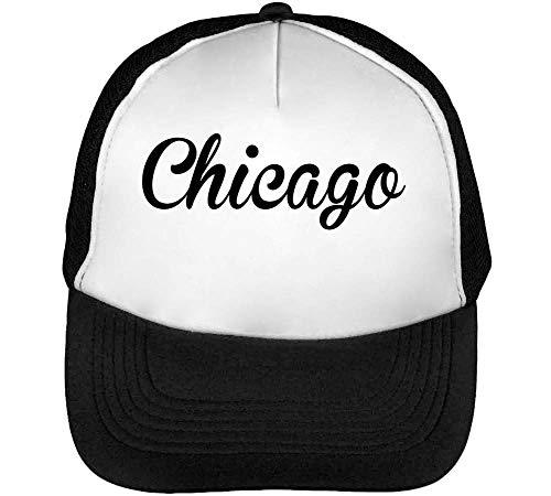 Chicago Gorras Hombre Snapback Beisbol Negro Blanco