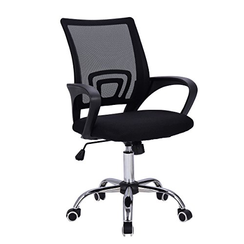 Giantex Mid-Back Mesh Office Chair Adjustable Ergonomic Chair W/Lumbar Support and Breathable Cushioned Seat for Home Office Use, Computer Desk Task Chair (Black)