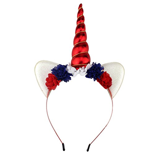 [YanJie Shiny Unicorn Horn Ears Flower Headband Cosplay Costume (4th july red)] (4th Of July Costumes For Toddlers)