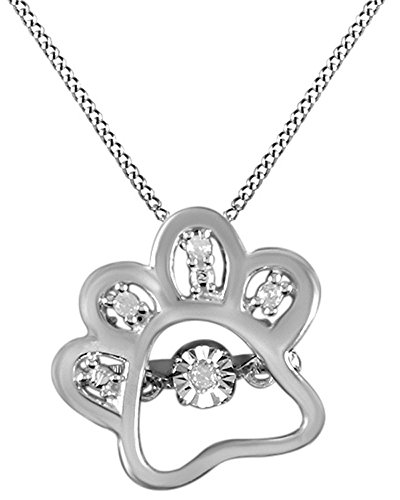 Jewel Zone US Natural Diamond White Gold Over Dog Paw Pendant Necklace in 14k White Gold Over Sterling Silver