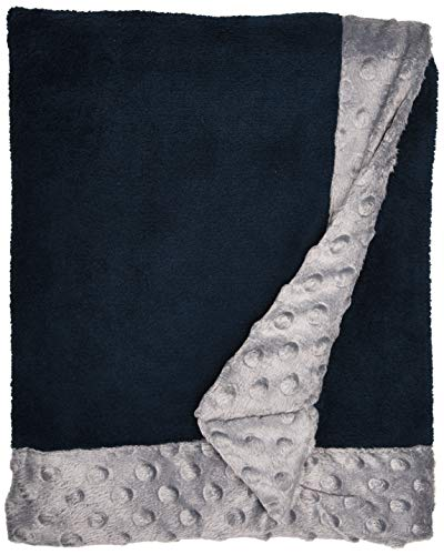 Bacati Bordered Plush Blanket, Solid Navy/Grey, 30
