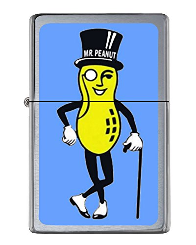 Planters Mr. Peanut Flip Top Lighter Brushed Chrome with Vinyl Image.